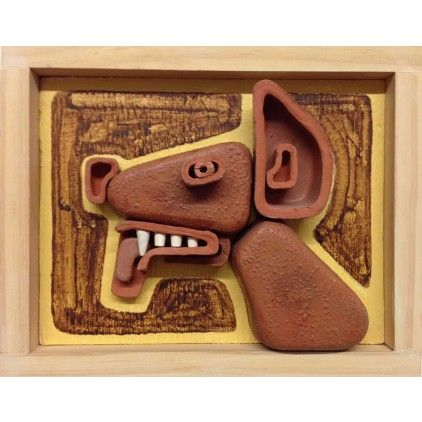 Steve Keister - Dog, 8 3/4 x 10 7/8 x 3 3/4 inches, glazed #ceramic and acrylic / wood, original sculpture at Mozumbo Contemporary Art. https://mozumbo.com