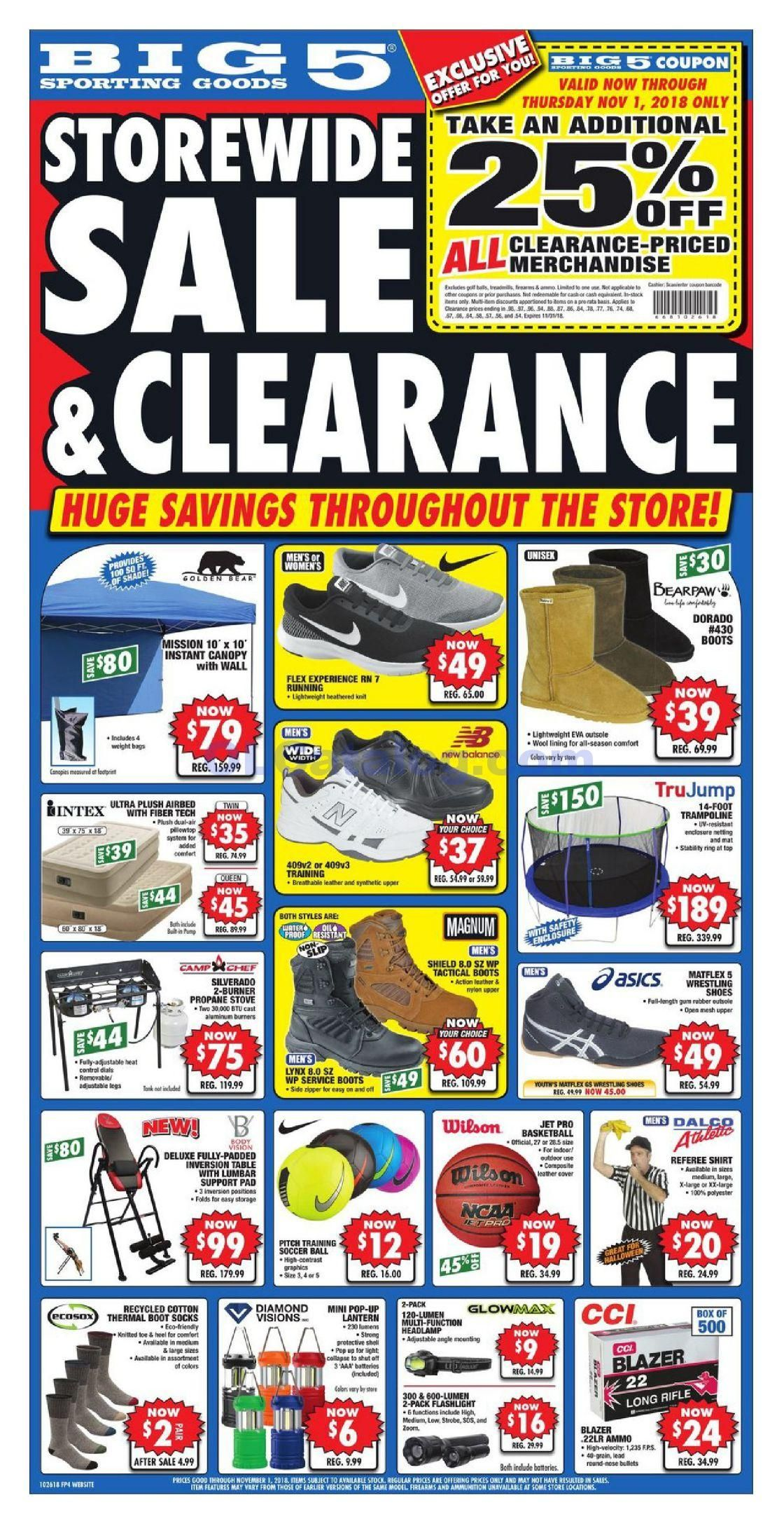 Big 5 Weekly Ad October 26 November 1 2018 Do You Know What S In And What S Hot In The Big 5 For This Week If You Haven T Using The Store S Weekly Adverti