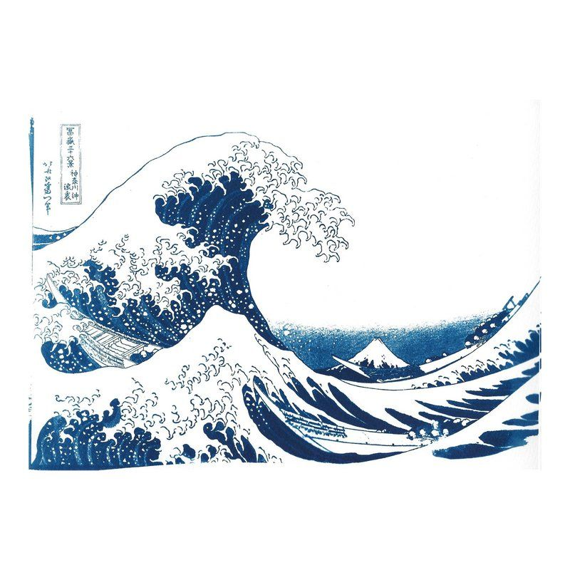 Photo of The Great Wave off Kanagawa, Handmade Cyanotype Print on Watercolor Paper, Limited Serie