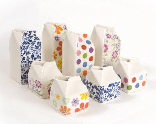 ceramic milk cartons...: Porcelain Milk Jugs ~ Hanne Rysgaard