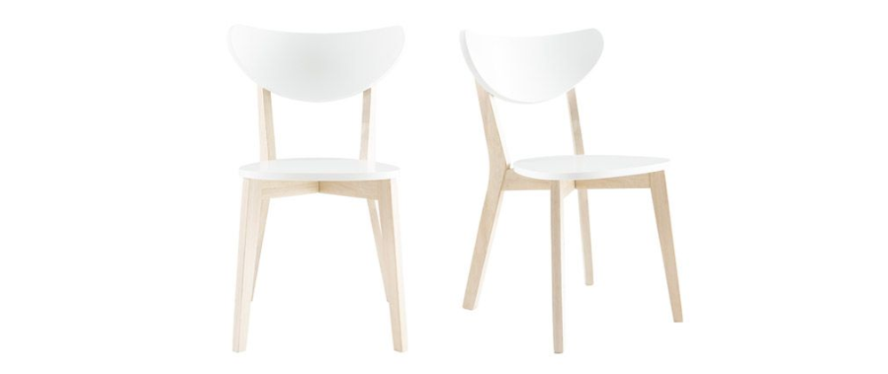 Chaises Design Bois Et Blanc Lot De 2 Leena Miliboo En 2020 Chaise Design Chaise Moderne Meuble Design