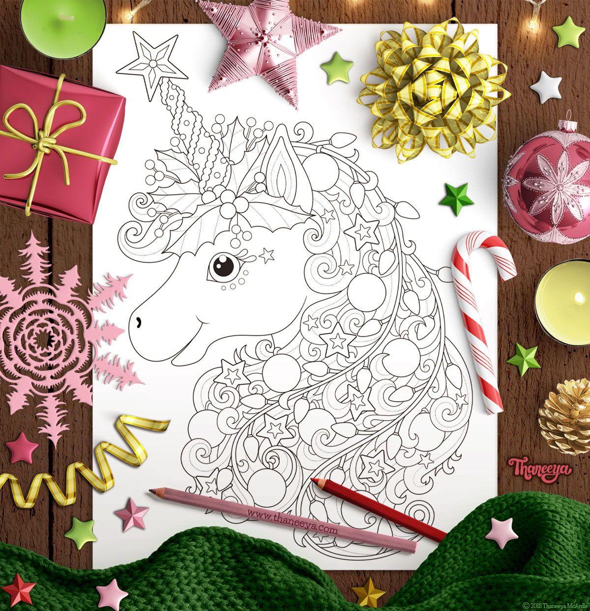 Christmas Unicorn coloring page from Thaneeya McArdle\u0027s