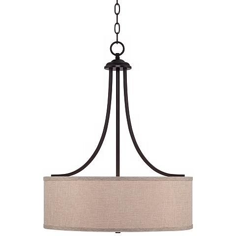 "Lamps Plus Pendant Lights New La Pointe 19 12"" Wide Oatmeal Linen Shade Pendant Light  Style Design Decoration"