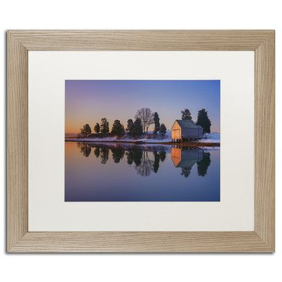 "Trademark Art ""Winter Reflection"" by Michael Blanchette Framed Photographic Print Size: 1"