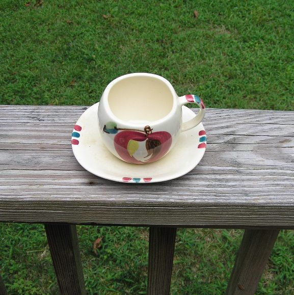 1940s - 1950s Vintage Hand Painted Purinton Cup & Saucer, Open Apple Design, Good Condition, UnMarked Purinton Slip Ware, Heavy Purinton by VictorianWardrobe on Etsy