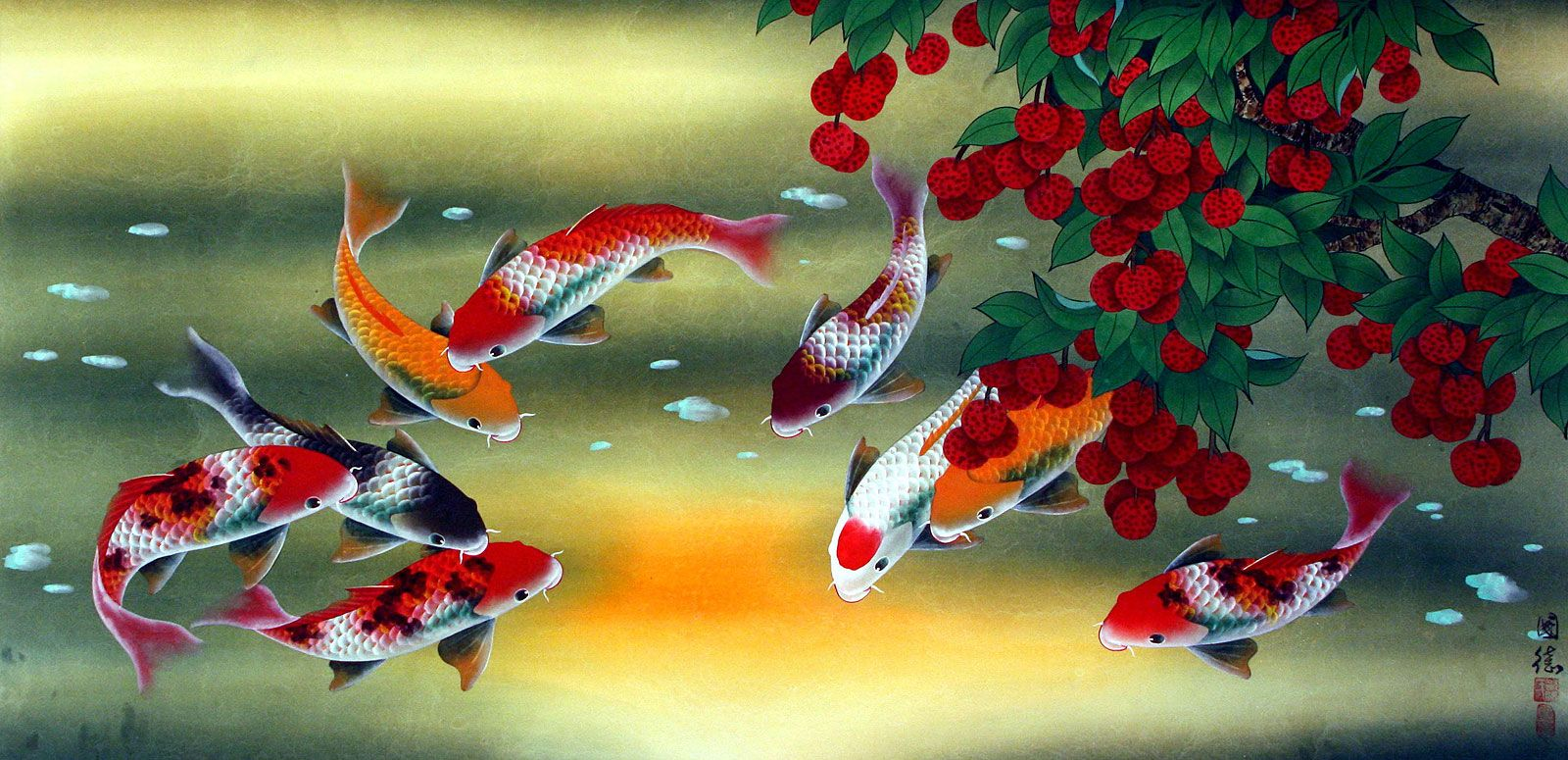 Fish artwork painting asian koi fish paintings for Japanese koi carp paintings