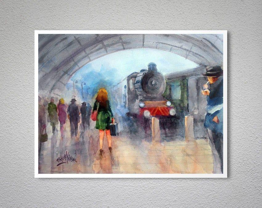 Leaving Watercolor Painting By Faruk Koksal Poster Paper Sticker