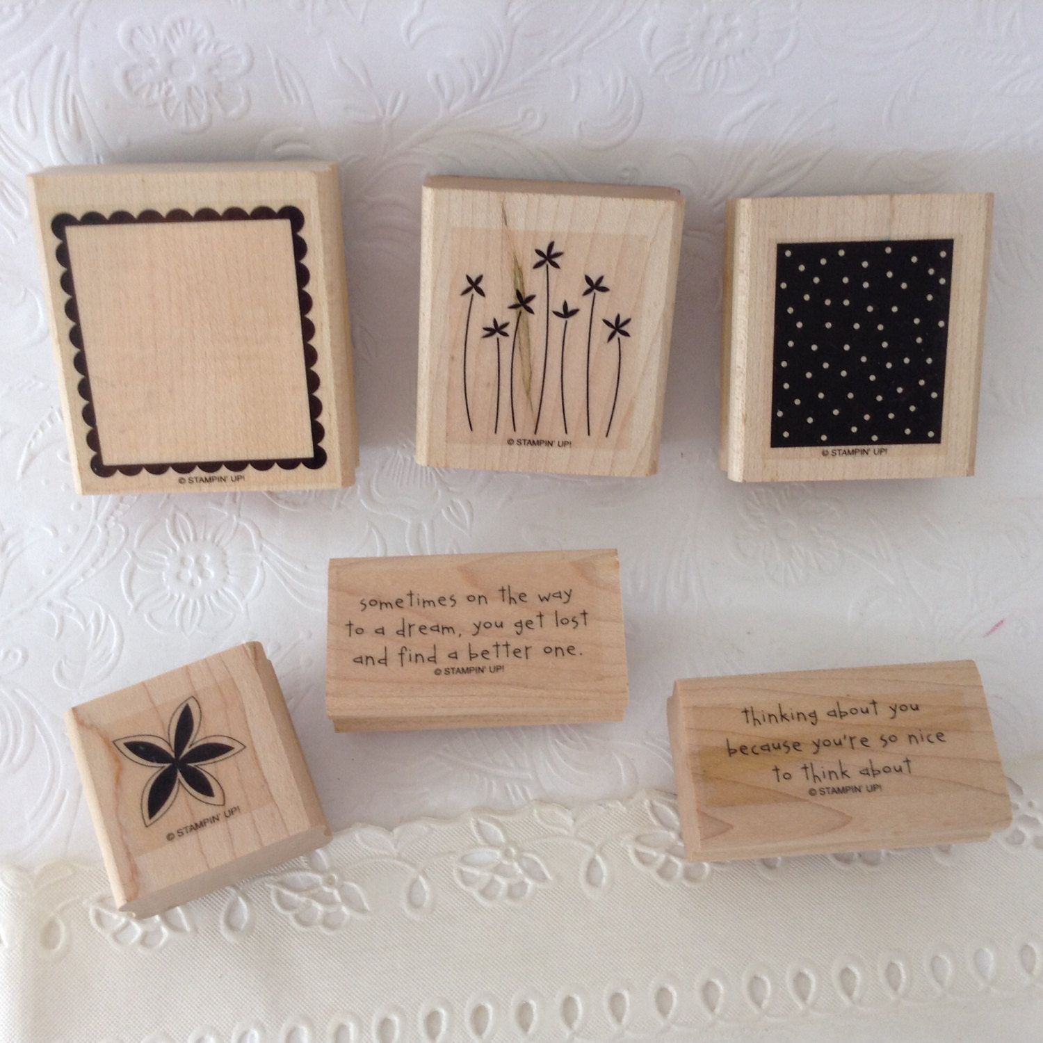 Stampin Up - Sweet Dreams - Retired - bargain wood mounted stamp set by TheWhatNaught on Etsy