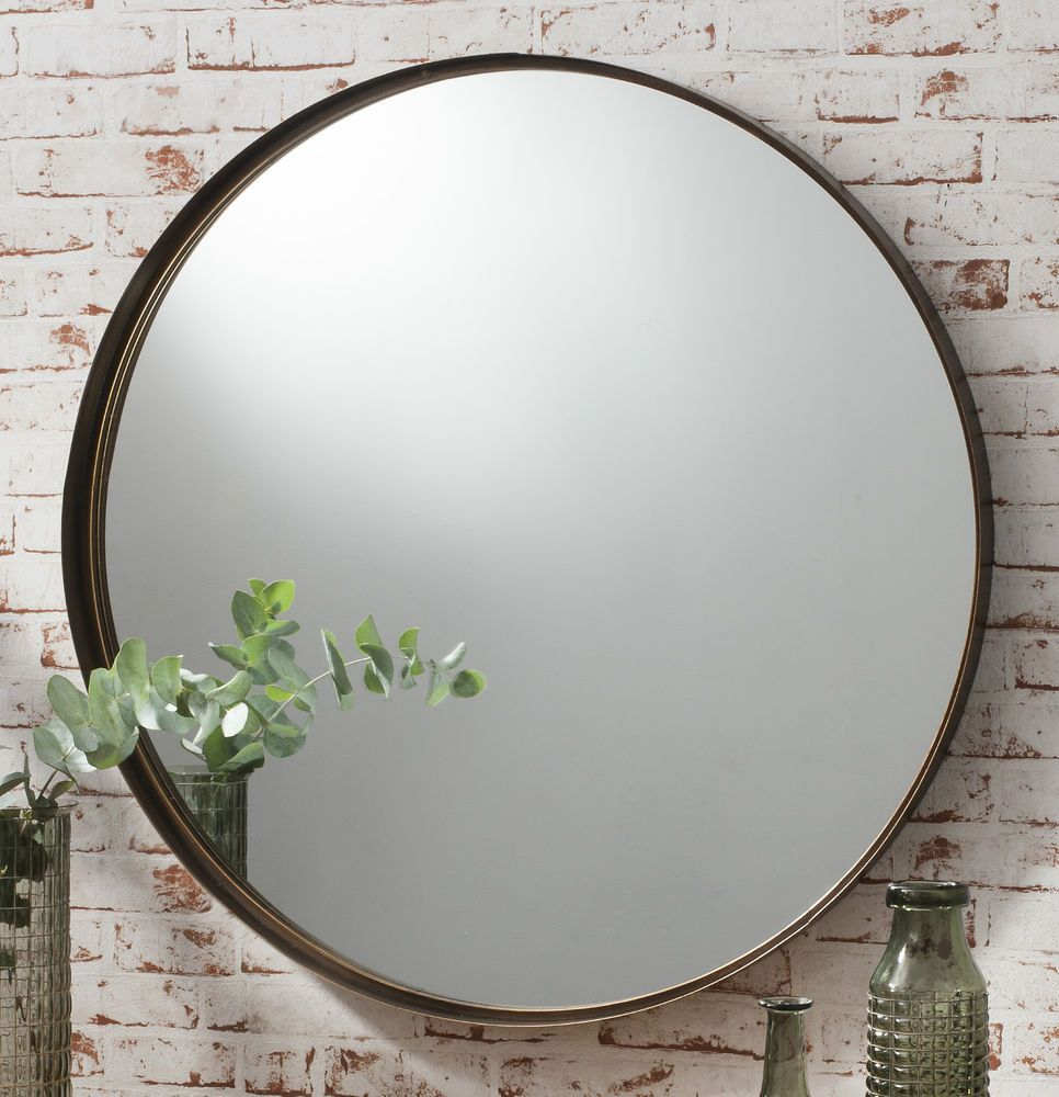 Greystoke large bronze round wall mirror 33 diameter for Large framed mirrors for walls