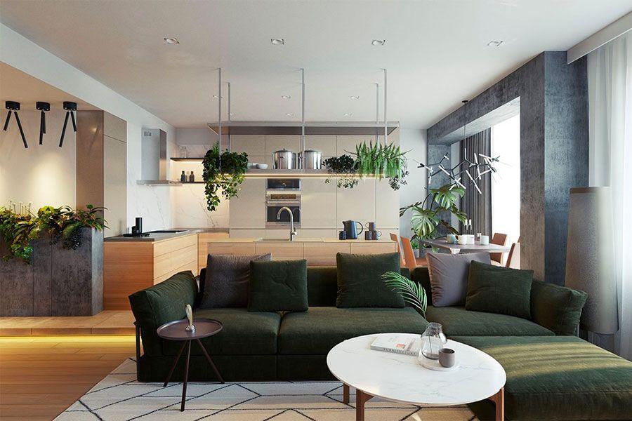 arredamento per open space moderno 06 | arredare living | pinterest - Arredamento Design Living
