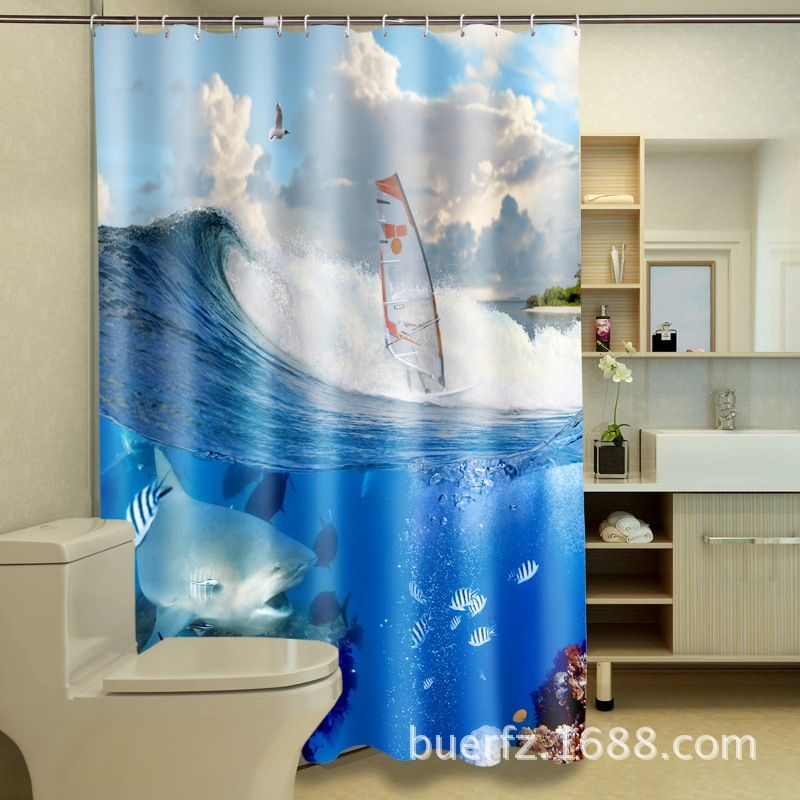 3D printing Sea curtains fishies and boat shower curtains bathroom ...