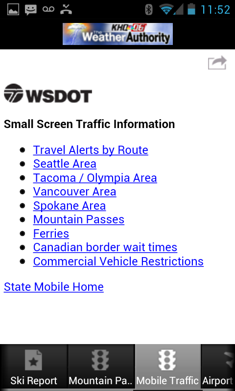 Traffic information on KHQ Android weather app | Weather