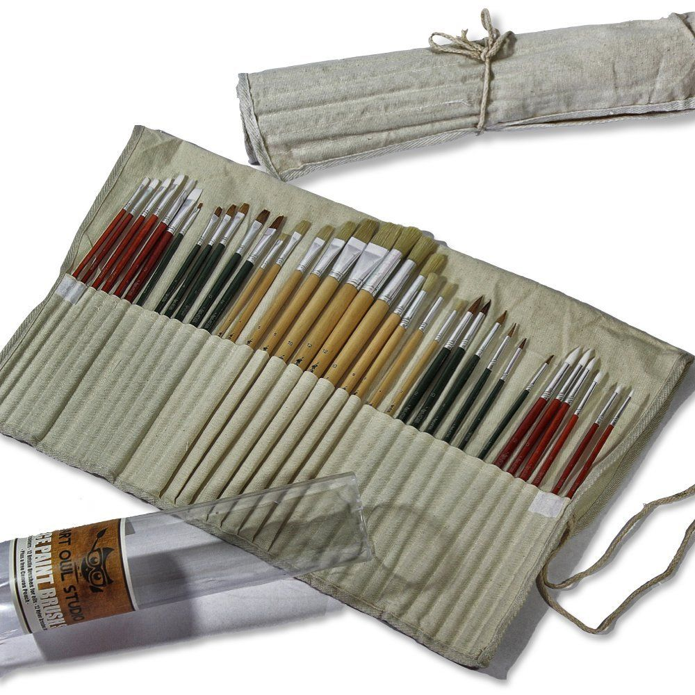 36 paint brushes for oil acrylic