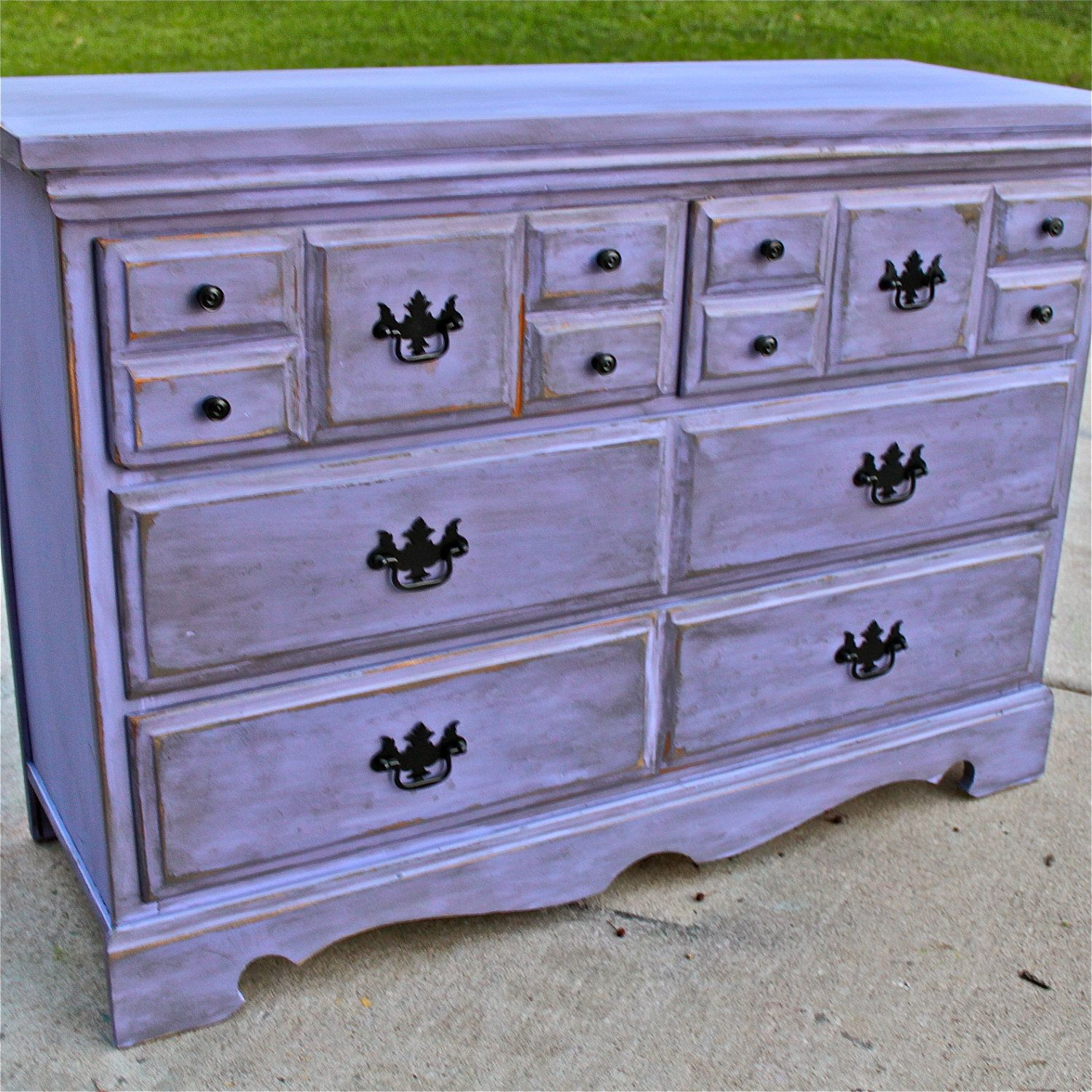 Lilac Purple Vintage Dresser Buffet Bedroom Furniture Distressed Black Drawer Pulls