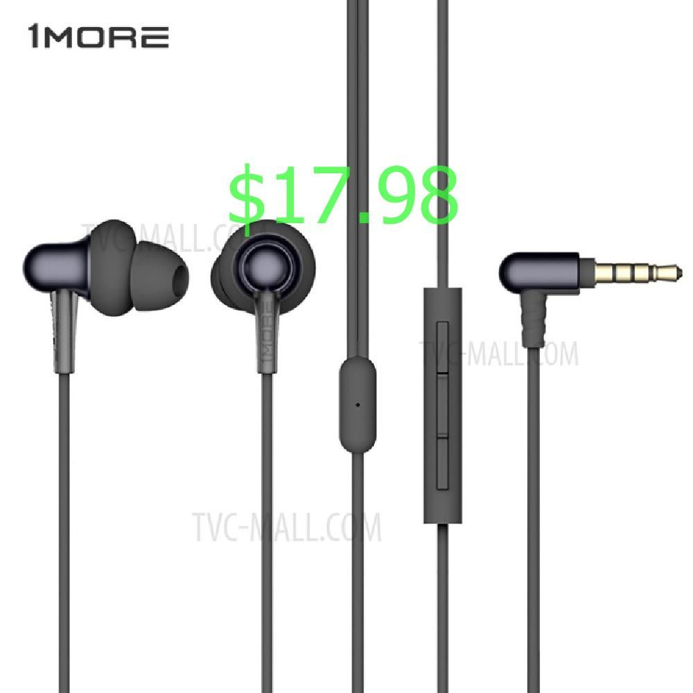 1more E1025 Stylish Dual Dynamic Driver In Ear 3 5mm Earphones With Mic Black Cell Phone Accessories Phone Accessories Earphone