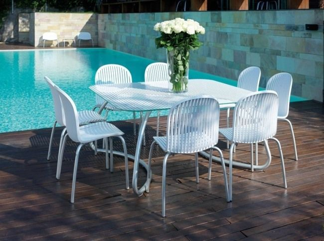 essplatz pool einrichten garten möbel weiß stahl Nardi Loto - gartenmobel design weis