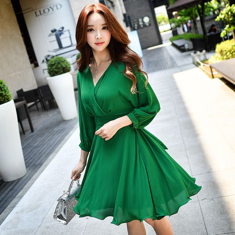 Vestido de manga comprida | Vestidos estilosos, Vestido de