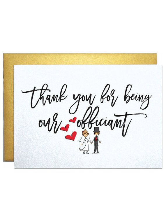 Wedding Officiant Card Thank You Card To Reverend Priest
