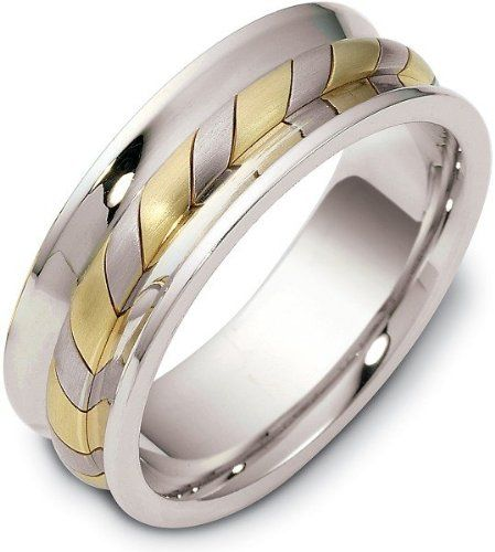 7.5mm Contemporary Woven Style 18 Karat Yellow Gold & Titanium Wedding Band