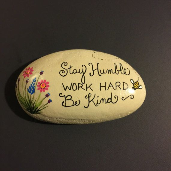 painted rock inspirational quote garden gift floral