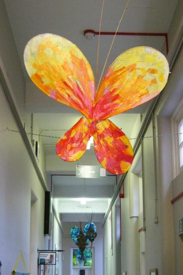 Tissue paper and PVA glue on a wire/willow frame. Stick the tissue paper pieces…