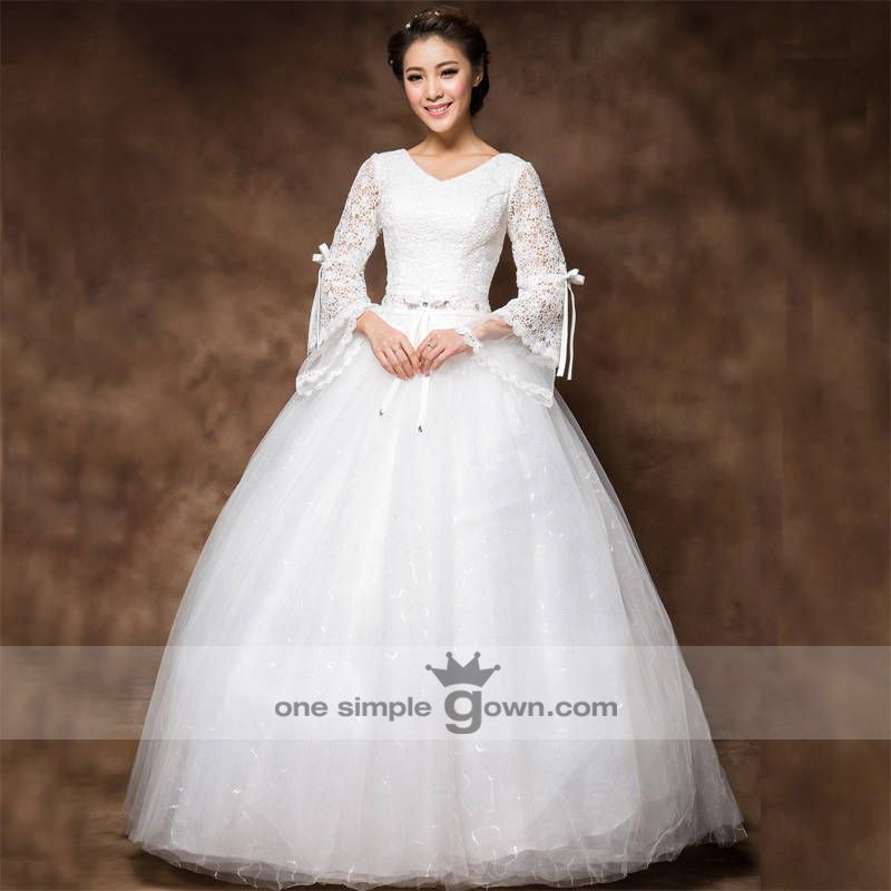 LS002 - Mid Long Sleeve White Vintage V neck Lace Ball Gown Wedding ...