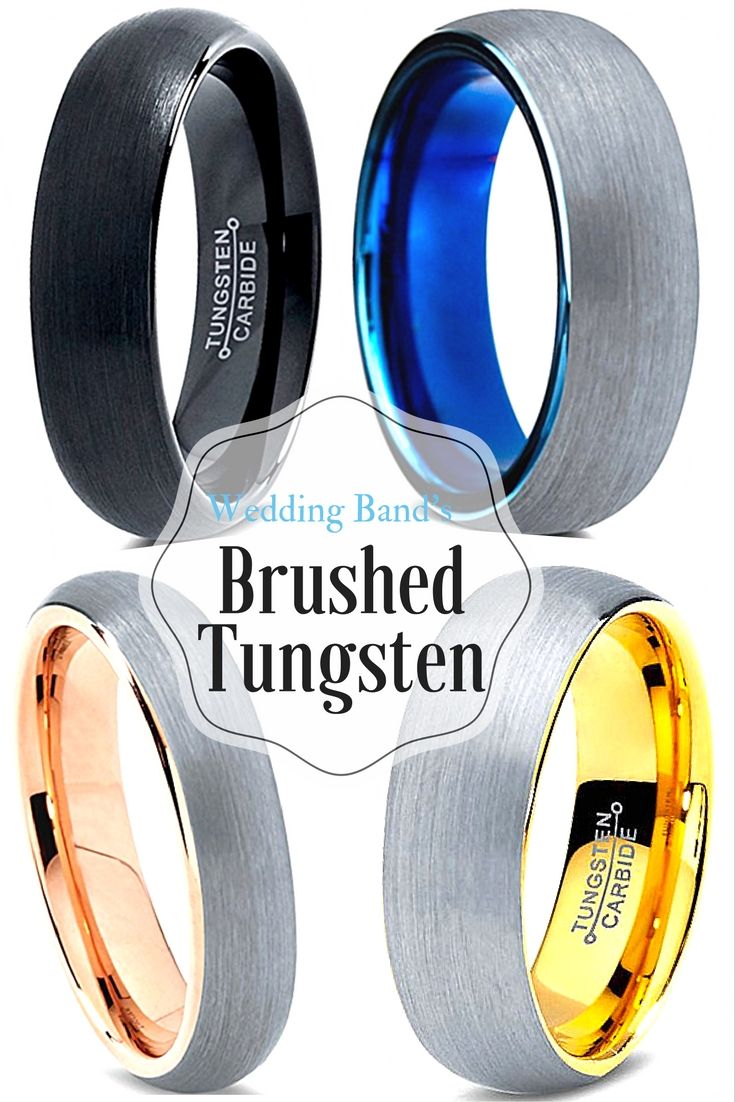 WOW! I think I found my husbands tungsten wedding band! But which one? Rose gold tungsten, yellow gold tungsten, blue or black? I love all these wedding bands!