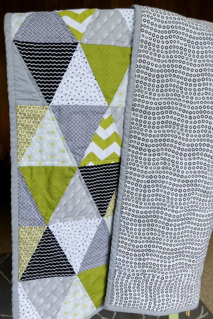 Green Grey Black And White Triangle Quilt For A Baby Boy