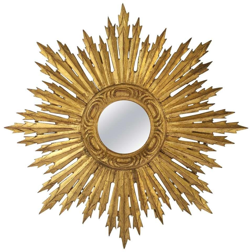 French Gilt Sunburst or Starburst Mirror   Sunburst mirror