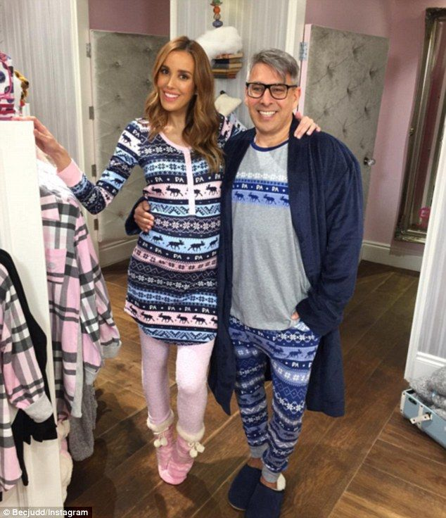 Ode to filming post: Bec also took to the photo sharing site to upload a picture of herself showing off burgeoning baby bump in patterned pyjamas alongside fashion designer Peter Alexander