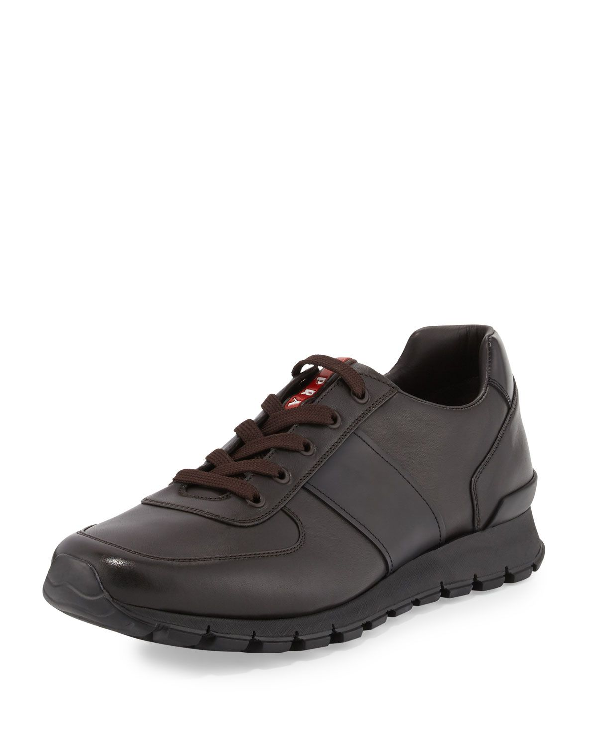 2c9904e144b9 PRADA LEATHER RUNNING SNEAKER, BROWN.  prada  shoes   Prada ...