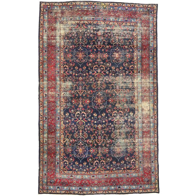 Distressed Antique Persian Kerman Rug With Modern Industrial Style Gallery Rug From A Unique Collection Of Antique An Rugs On Carpet Modern Persian Rug Rugs