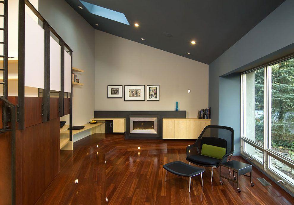vaulted ceiling dark paint - Google Search | Sunken living ...