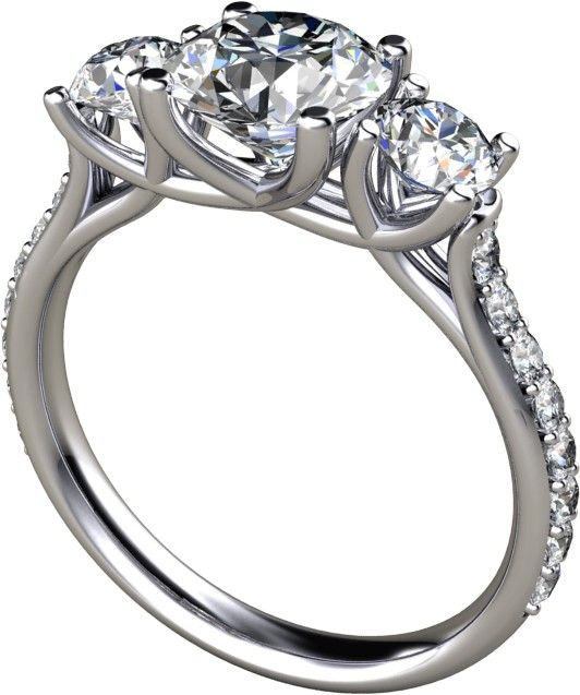 2.04Ct Round Cut Engagement Ring Available In 14K, 18K and Platinum - size: 4.75 in 18K Yellow Gold.