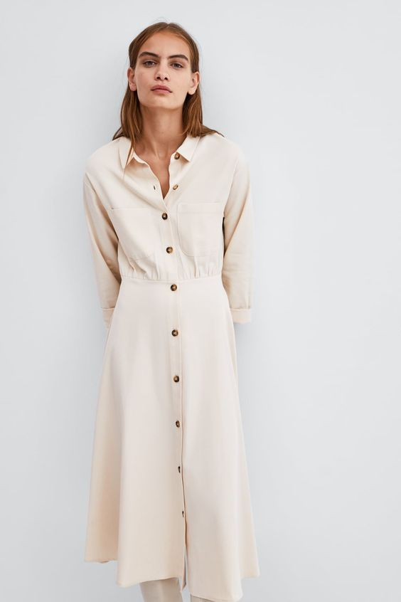 e77d414fed1c Image 4 of FLOUNCED SHIRT DRESS from Zara | Street style 2018 - 2019 ...