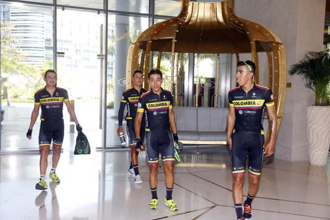 Abu Dhabi Tour 2015. Team Colombia walk out of the hotel