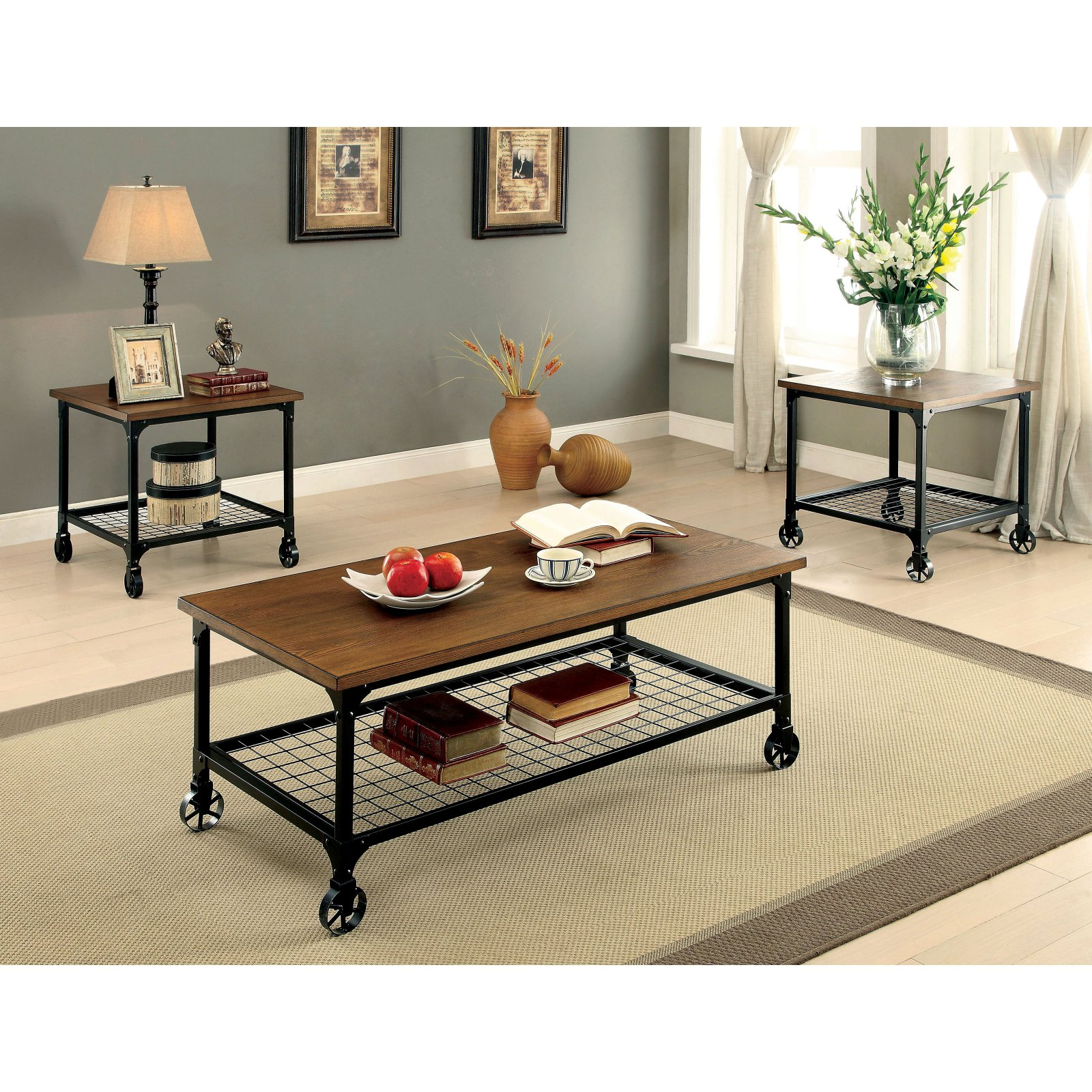 Furniture Of America Carnegie 3 Piece Coffee Table Set In 2020