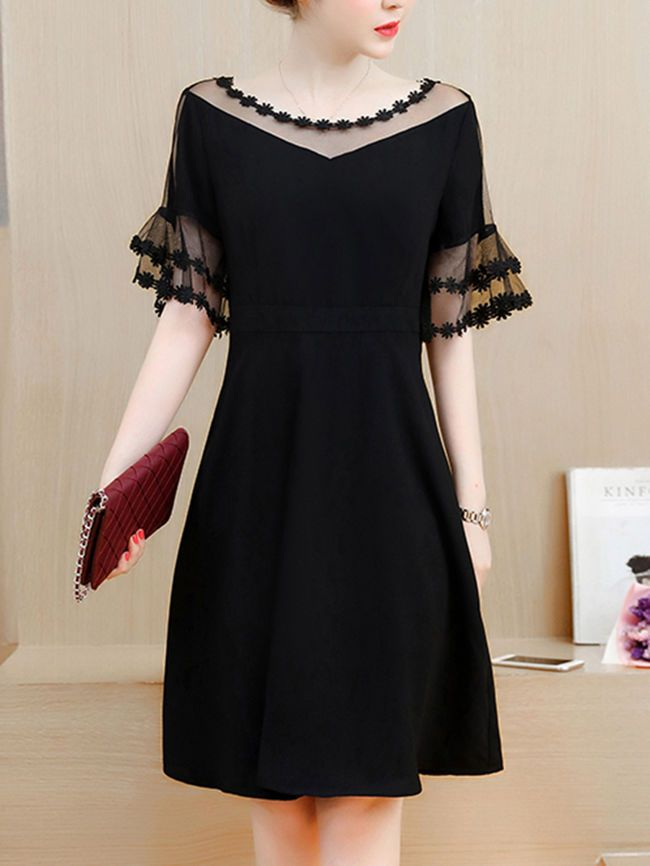See Through Solid Bell Sleeve Skater Dress In Black My