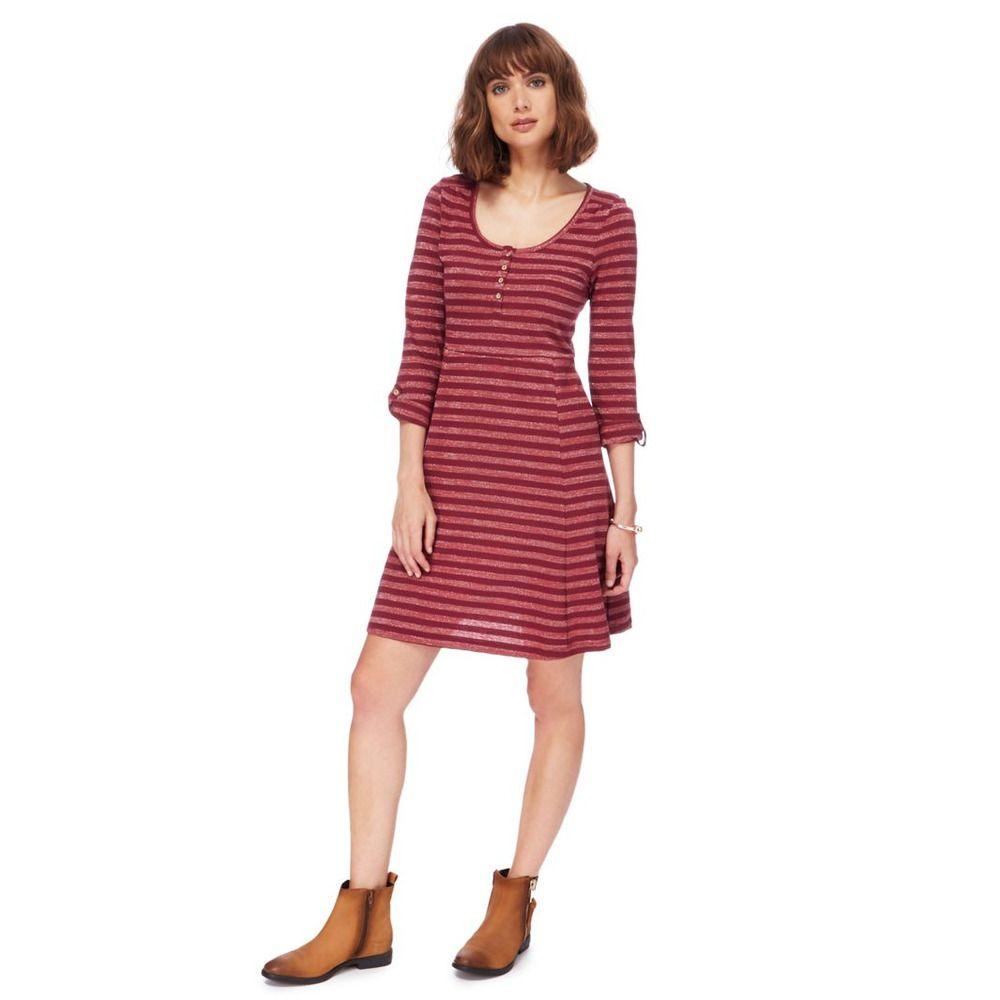 Debenhams mantaray dark pink striped skater dress size uk
