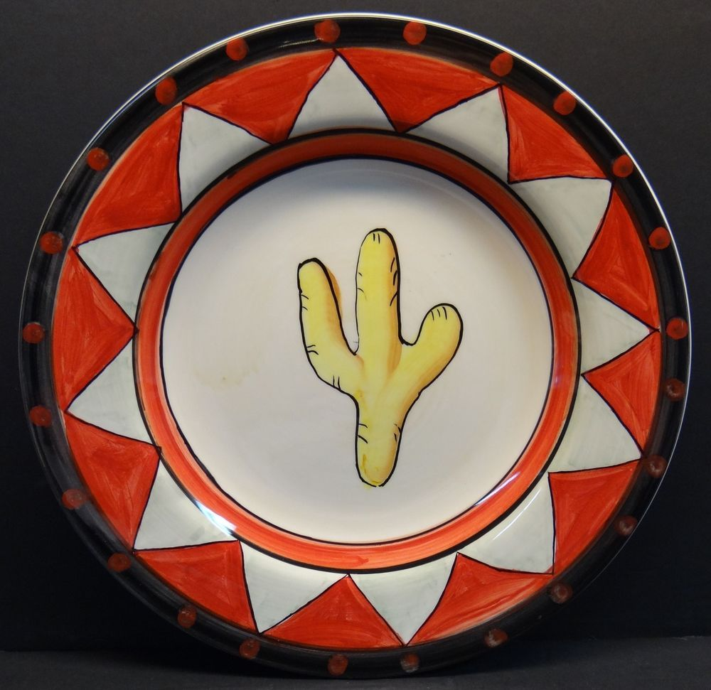 Tabletops Gallery Santa Fe Set Of 4 Dinner Plates Hand Painted Cactus