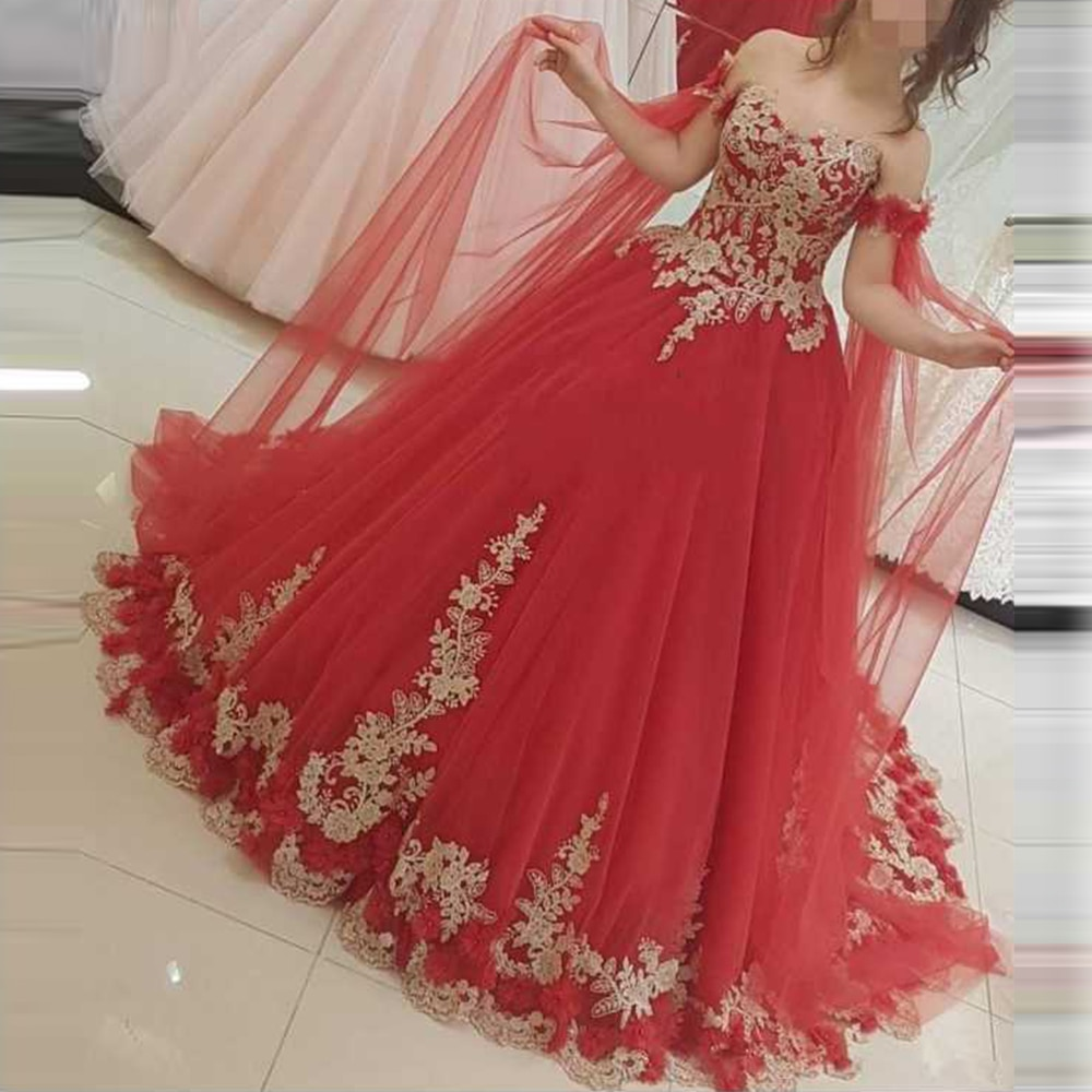 Vestidos Formal Bride Gown Muslim Middle East Red Aplliques Ball Gown Wedding Dresses Robe De Maridee Gold Lace Bridal Dress Ball Gowns Red Prom Dress Bridal Dresses Lace [ 1000 x 1000 Pixel ]