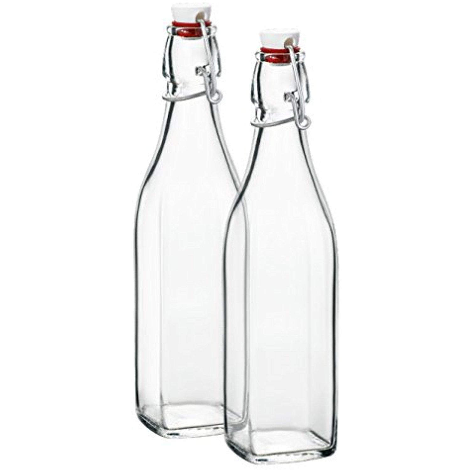 Klikel Conway Square Glass Water Bottles Swing Top Clear Glass Multi Purpose Bottles 1 Liter 33 8oz Set Of 2 Glass Water Bottle Square Glass Glass Bottles