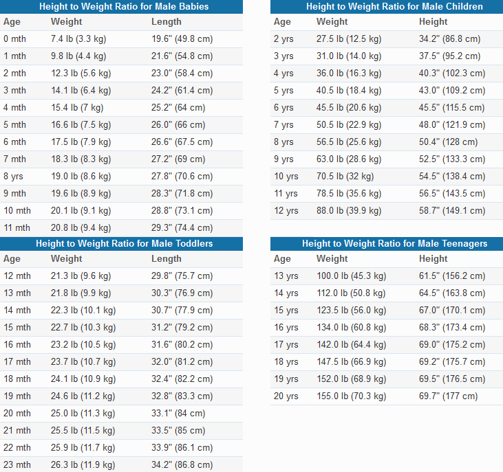 boys weight chart