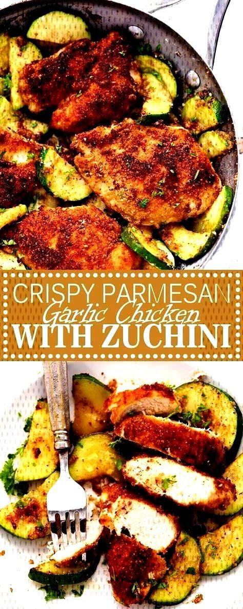 PARMESAN GARLIC CHICKEN WITH ZUCCHINI -CRISPY PARMESAN GARLIC CHICKEN WITH ZUCCHINI - One-pan no p