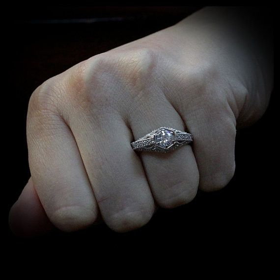 Vintage Style Engagement Ring - Truly by Moissanite Rings. Shop now at http://www.moissaniterings.com!