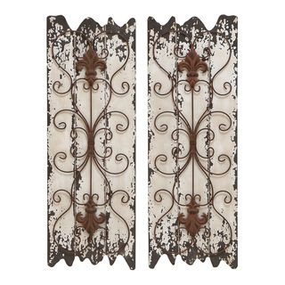 Planked Wood Wall Decor With A Scrolling Metal Overlay Featuring Fleur De Lis Details Product Set Of 2 Decorconstruction Material And