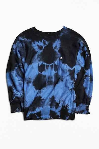 Unisex Hand-Dyed Women\u2019s Tie Dye Sweatshirt Unisex 2XL Crew Blue Mix Tie Dye Relaxed Fit Crewneck Sweatshirt