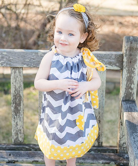 Gray & Yellow Pillowcase Dress - Infant Toddler & Girls