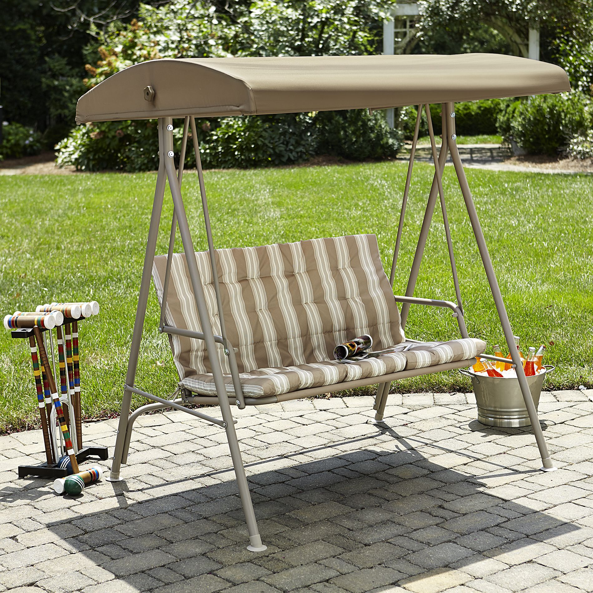 Rock To A Gentle Breeze With An Essential Garden Canopy 2 Seat Swing