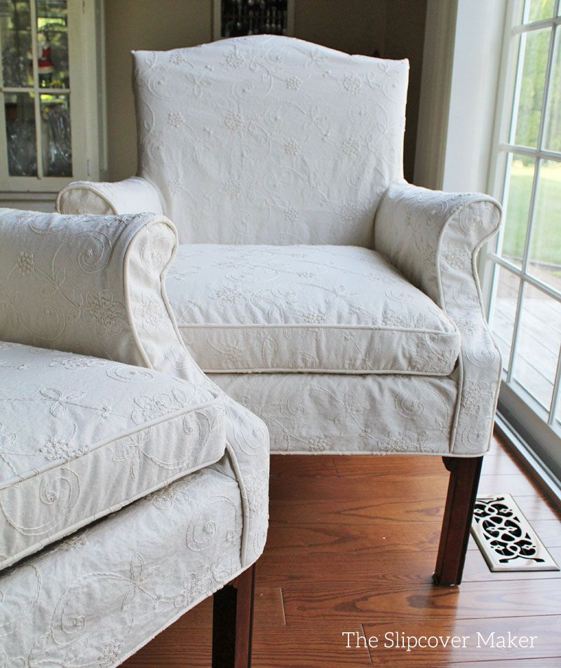 Small Vintage Chairs Updated For The Dining Room With Custom Slipcovers In Embroidered Cotton Fabric Waverly Candlewicking Clic Natural